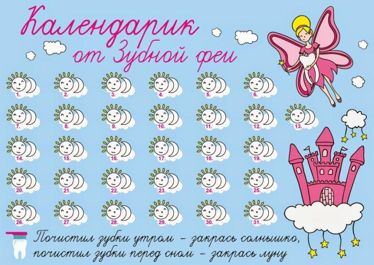 календарь чистки зубов