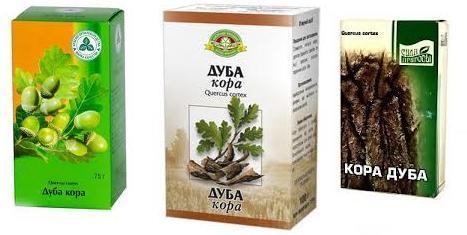 Аптечнные упаковки коры дуба