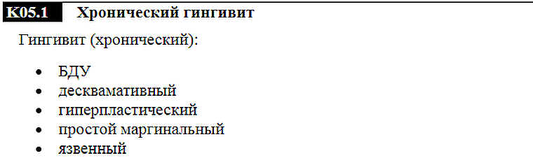 хронический гингивит - код по МКБ-10
